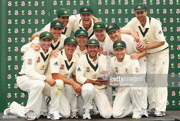The Australian team pose after defeating Pakistan on day five of the Third Test match between Australia and Pakistan at Bellerive Oval on January 18...