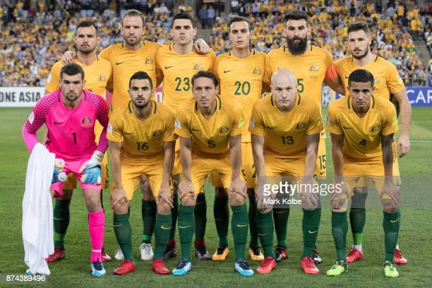 The Australian team pose before the 2018 FIFA World Cup Qualifiers Leg 2 match between the Australian Socceroos and Honduras at ANZ Stadium on...