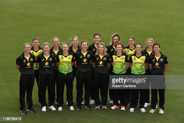 The Australian team pose during the Australian Women's T20 World Cup squad announcement at Junction Oval on January 16 2020 in Melbourne Australia