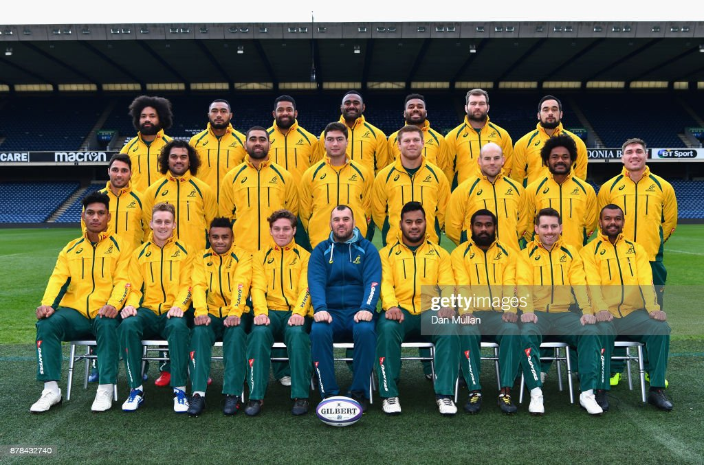 The Australian team pose for a group photo during the Australia Captain's Run at Murrayfield Stadium on November 24, 2017 in Edinburgh, Scotland.