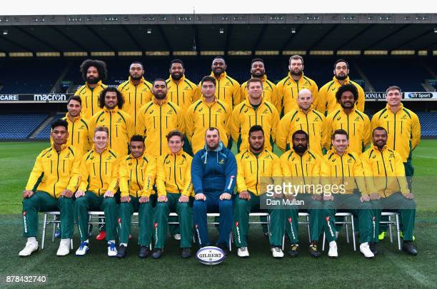 The Australian team pose for a group photo during the Australia Captain's Run at Murrayfield Stadium on November 24 2017 in Edinburgh Scotland