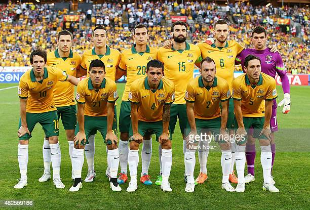 The Australian team pose for a team photo before the 2015 Asian Cup final match between Korea Republic and the Australian Socceroos at ANZ Stadium on...