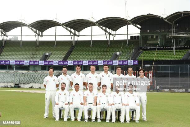 The Australian team pose for a team photo prior to an Australian Test team nets session at SherE Bangla National Cricket Stadium on August 25 2017 in...
