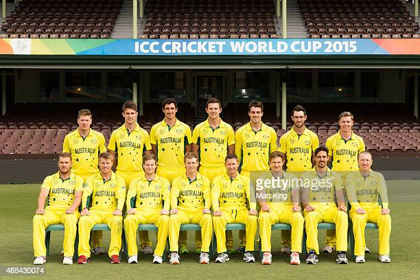 The Australian team pose for their official team photo during an Australia nets session at Sydney Cricket Ground on March 7 2015 in Sydney Australia