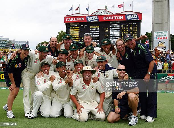 The Australian team pose with a replica Ashes Urn after securing victory on day five of the third Ashes Test Match between Australia and England at...