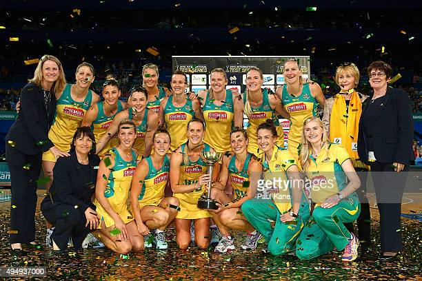 The Australian team pose with teh 'Constelation Cup' after winning the series during the International Test Match between the Australian Diamonds and...