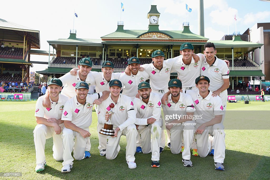 The Australian team pose with the Frank Worrell Trophy after winning the series during day five of the third Test match between Australia and the West Indies at Sydney Cricket Ground on January 7, 2016 in Sydney, Australia.