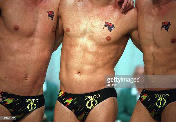 The Australian team poses after winning the gold in the Men's 4x100m relay during the Gay Games on June 22 1994 in New York City New York