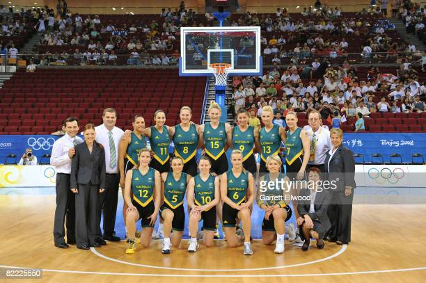 The Australian Team poses for a team photo prior to the game against Belarus during the preliminary women's basketball game at the Beijing Olympic...