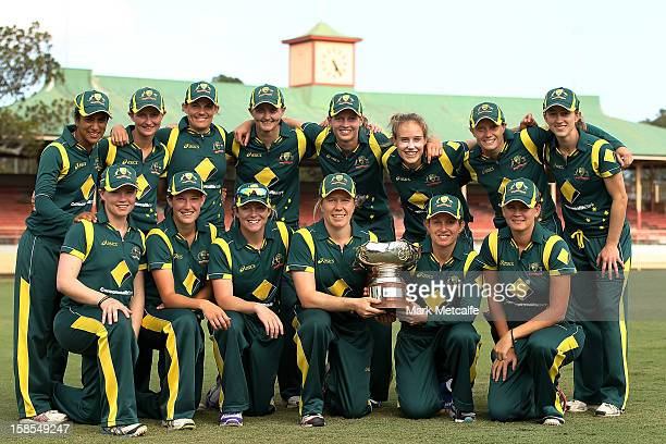 The Australian team poses with the Rose Bowl after winning game four of the Women's Oneday International series between the Australian Southern Stars...
