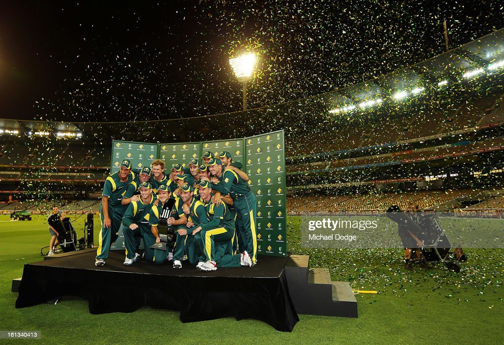 The Australian team poses with the trophy after their win in game five of the Commonwealth Bank International Series between Australia and the West Indies at Melbourne Cricket Ground on February 10, 2013 in Melbourne, Australia.