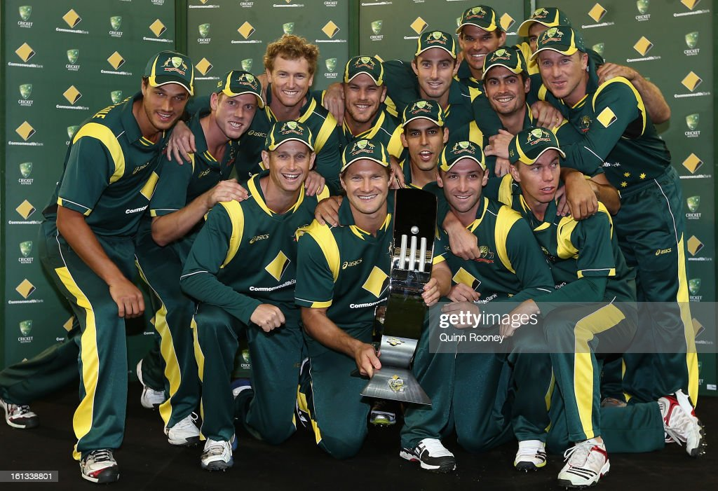The Australian team poses with the trophy after winning the series 5-0 during game five of the Commonwealth Bank International Series between Australia and the West Indies at Melbourne Cricket Ground on February 10, 2013 in Melbourne, Australia.