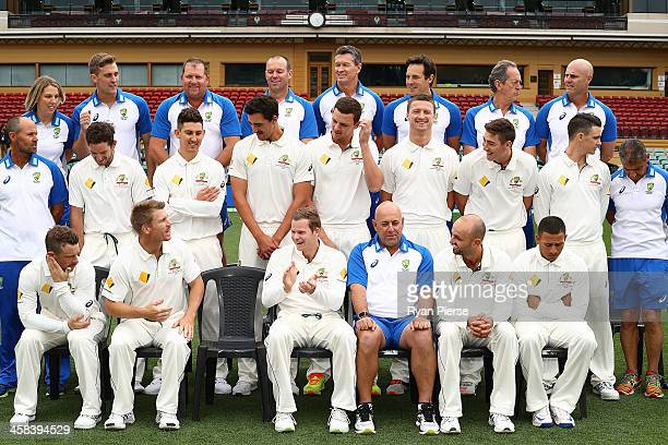 The Australian Team prepare for a Team Photo during a portrait session at Adelaide Oval on November 22 2016 in Adelaide Australia