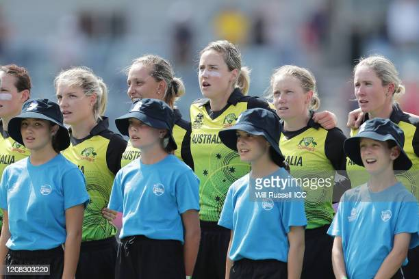 The Australian team sing the National Anthem during the ICC Women's T20 Cricket World Cup match between Australia and Sri Lanka at WACA on February...