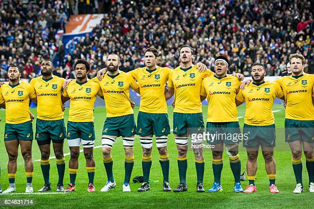 The australian team sings the australian national anthem before rugby union test match between France and Australia at the Stade de France in...