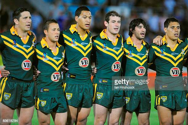 The Australian team stand together for the national anthem before the start of the 2008 Rugby League World Cup Pool 1 match between Papua New Guinea...