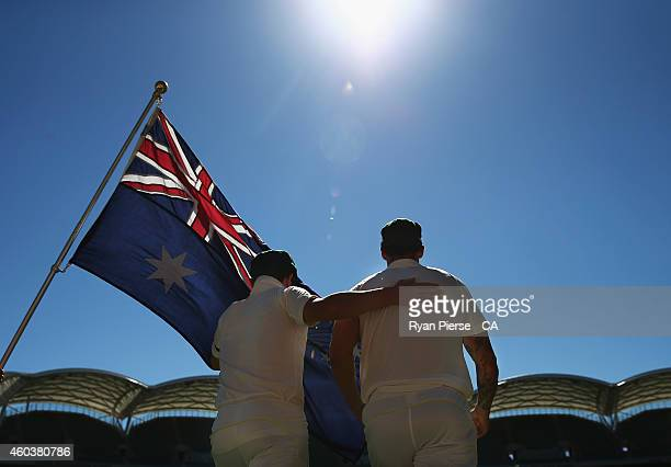 The Australian Team take to the field during day five of the First Test match between Australia and India at Adelaide Oval on December 13, 2014 in...