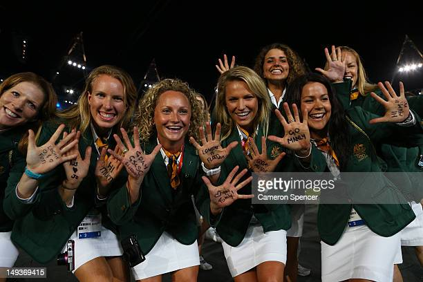 The Australian team walk the stadium during the Opening Ceremony of the London 2012 Olympic Games at the Olympic Stadium on July 27, 2012 in London,...