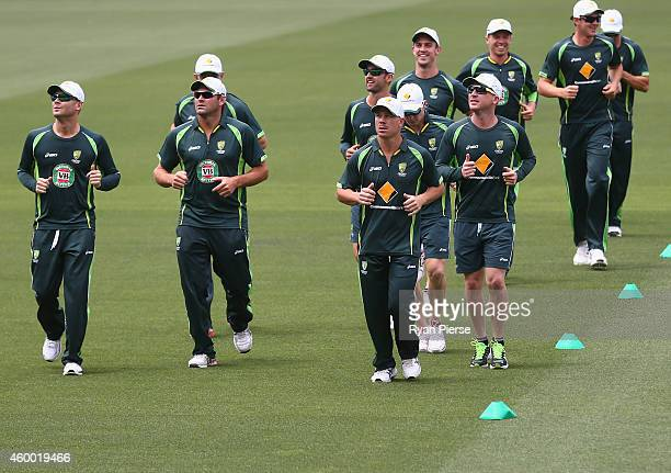 The Australian Team warm up during an Australian nets session at Adelaide Oval on December 6 2014 in Adelaide Australia