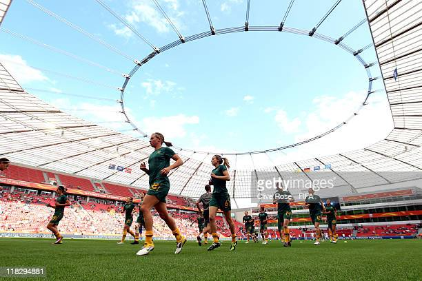 The Australian team warm up prior to the FIFA Women's World Cup Group D match between Australia and Norway at FIFA World Cup stadium Leverkusen on...