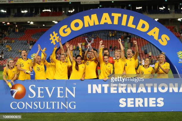 The Australian team with the winners trophy during the International Women's Friendly match between the Australian Matildas and Chile at McDonald...