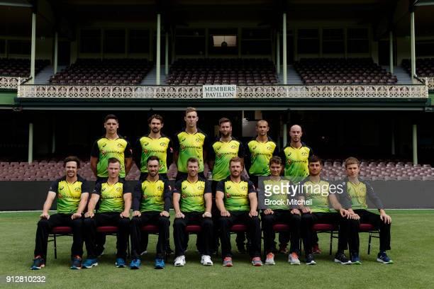The Australian Twenty20 team poses during the Australian International Twenty20 headshots session at Sydney Cricket Ground on February 1 2018 in...