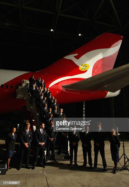 The Australian Wallabies are introduced during the announcement of the Australian Wallabies 2011 Rugby World Cup Squad at Sydney International...