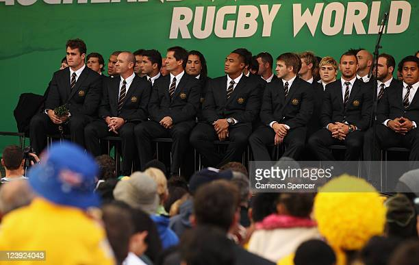 The Australian Wallabies attend their IRB Rugby World Cup 2011 official team welcome ceremony at Aotea Square on September 6 2011 in Auckland New...