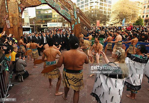 The Australian Wallabies observe a traditional Maori welcome at the IRB Rugby World Cup 2011 official team welcome ceremony at Aotea Square on...