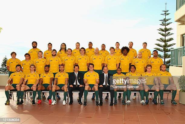 The Australian Wallabies pose for a team shot at the Coogee Crown Plaza prior to the announcement of the Australian Wallabies 2011 Rugby World Cup...