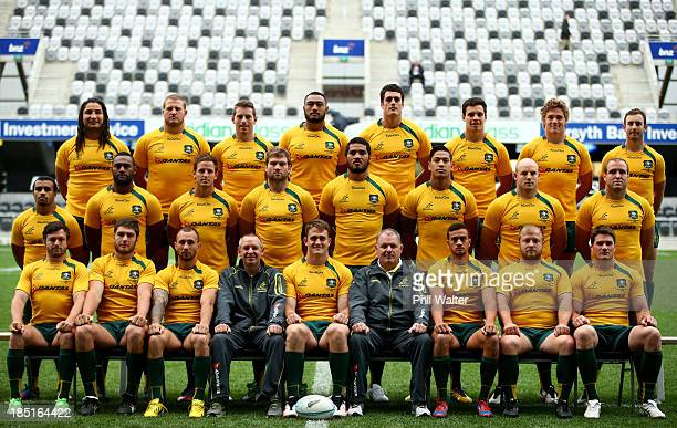 The Australian Wallabies pose for their official team photo during the Australian Wallabies captain's run at Forsyth Barr Stadium on October 18, 2013...
