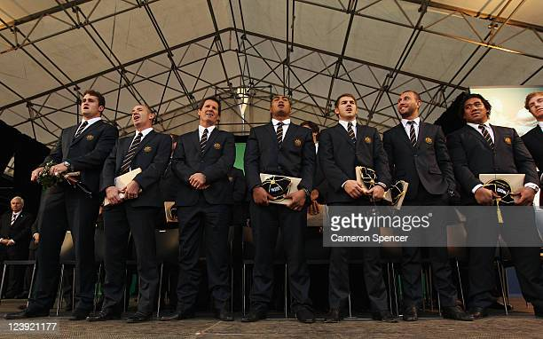 The Australian Wallabies sing the national anthem at their IRB Rugby World Cup 2011 official team welcome ceremony at Aotea Square on September 6...