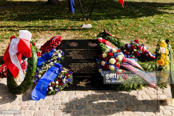 The Australian War Monument at the Churchill Memorial Park on September 17 2020 in Copenhagen Denmark The monument commemorates Australian service...