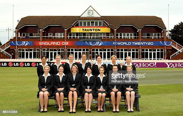 The Australian Women pose for a team photo before the ICC Women's Twenty20 World Cup match between Australia and New Zealand at The County Ground on...