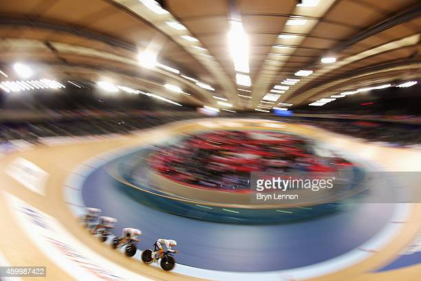 The Australian women's pursuit team in action during the Team Pursuit Qualifying Session on day one of the UCI Track Cycling World Cup at the Lee...