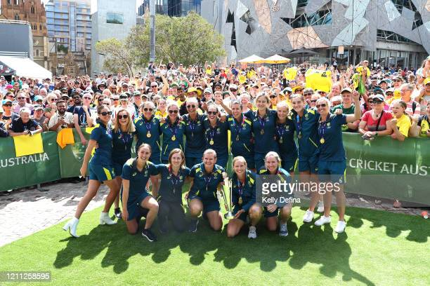 The Australian Women's T20 World Cup team celebrate after winning the ICC Women's T20 World Cup Final at Federation Square on March 09 2020 in...