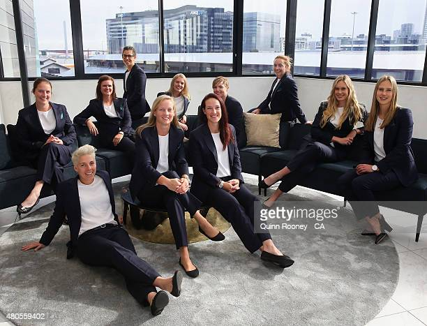 The Australian Women's team pose during the official farewell for the Australian Women's Ashes Series on July 13 2015 in Melbourne Australia