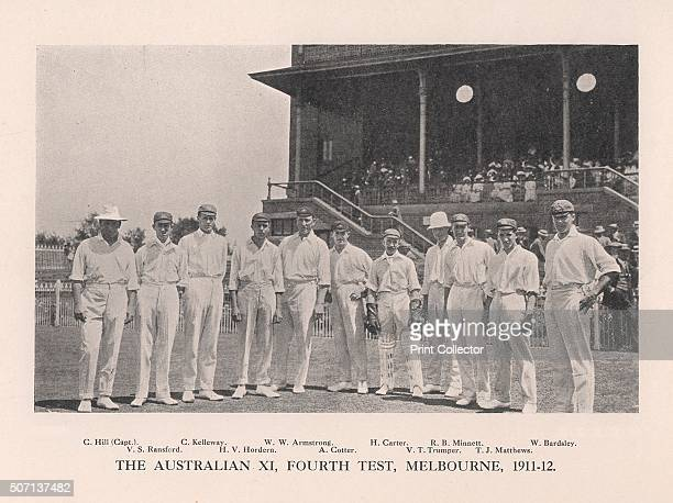 The Australian XI for the Fourth Test vs England at Melbourne 1911 From Imperial Cricket edited by P F Warner and published by The London and...