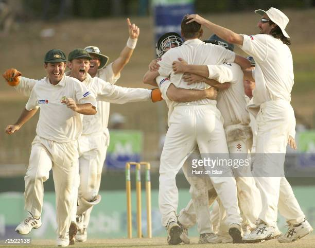 The Australians celebrate their 3 0 series win after the final wicket of Rangana Herath of Sri Lanka was trapped LBW by Michael Kasprowicz of...