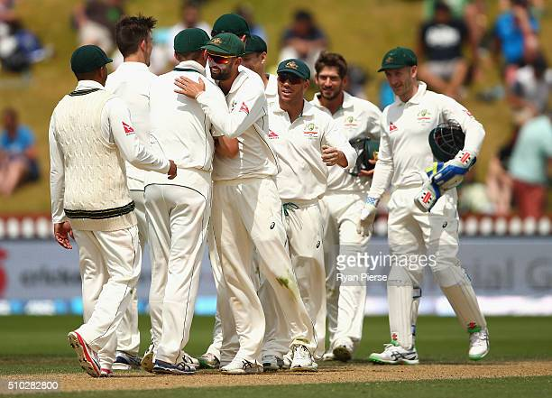 The Australians celebrate victory during day four of the Test match between New Zealand and Australia at Basin Reserve on February 15 2016 in...