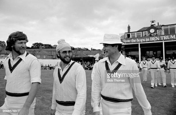 The Australians take the field after lunch on the last day of the touring match between Northamptonshire and Australia at the County Ground in...