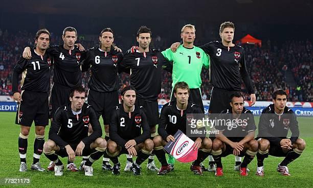 The Austria team prior to the International Friendly match between Switzerland and Austria at the Letzigrund stadium on October 13, 2007 in Zurich,...
