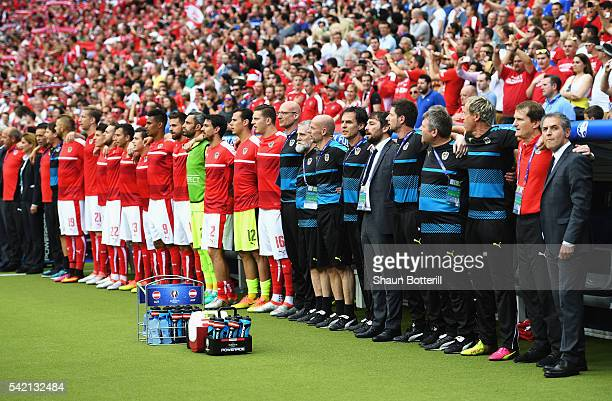 The Austria team stand during their national anthem beforeg the UEFA EURO 2016 Group F match between Iceland and Austria at Stade de France on June...