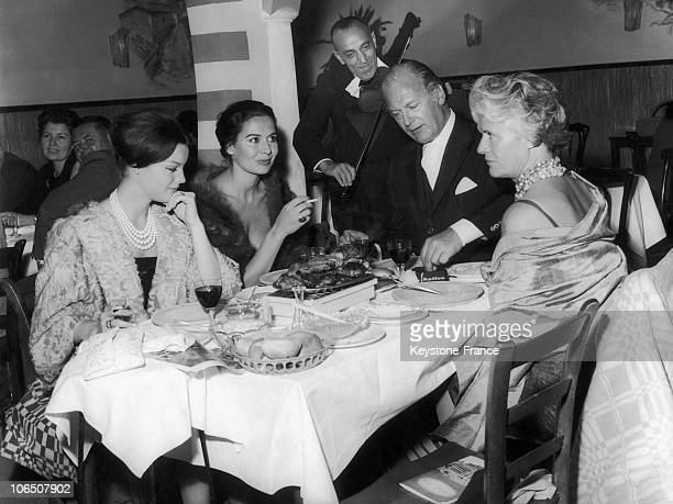 The Austrian Actor And His Wife And His Mother-In-Law Having Dinner With Romy Schneider, At Balkan Grill Night-Club, Vienna, Austria.