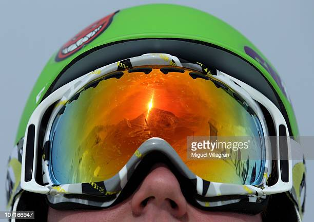 The Austrian Alps are reflected in the googles of a skier during the winter season opening on November 27 2010 in Ischgl Austria Ischgl has more then...