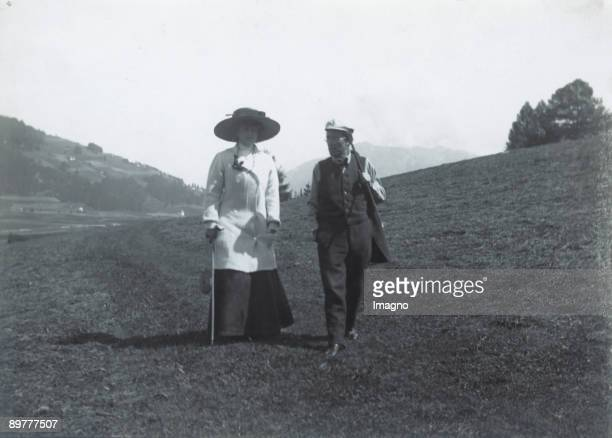 The Austrian composer Gustav Mahler and his wife Alma taking a walk nearby their summer residence in Toblach Photograph 1909