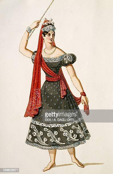 The Austrian dancer Fanny Elssler of the pseudonym Franziska Elssler in stage costume Colour print 19th century Vienna Historisches Museum Der Stadt...