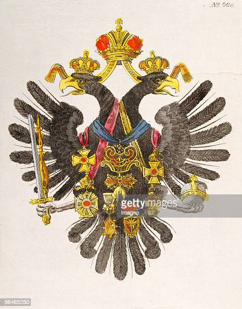 The Austrian Double Eagle, heraldic animal of the Habsburg monarchy. Around 1835. Contemporary sheet of pictures. Colour etching. [Der...