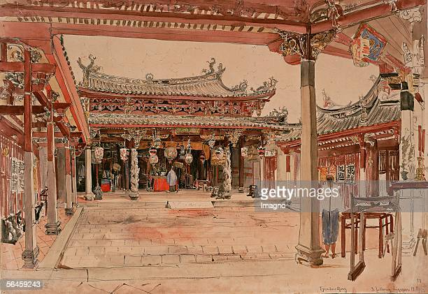The Austrian frigate Novara sailed around the world in 1857-59. On April 15th the ship reached Singapore. The Tjintak Kjong Temple. [Die...