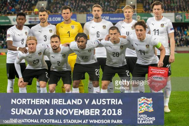 The Austrian national football team poses for photo during the UEFA Nations League B Group 3 between Northern Ireland and Austria at Windsor Park in...